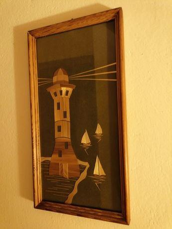 Kolekcjonerski obraz intarsja - latarnia morska. - vintage.