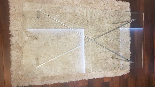 Nowoczesny stolik szklany nogi z nierdzewki, szkło hartowane,