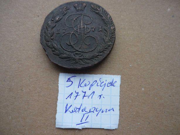 Moneta  5 kopiejek 1771 r. Katarzyna II