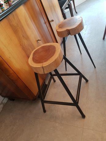 Hoker x2,z plastra drewna, loft,industrial, metal, drewno-wyprzedaż!!