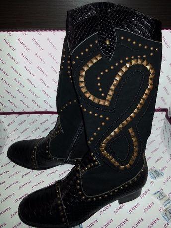 Распродажа! Итальянские демисезонные кожаные сапоги.baroco