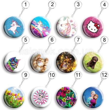 Брелок, значок, магнит для девочек, единороги, цветы, лол, котята, лол