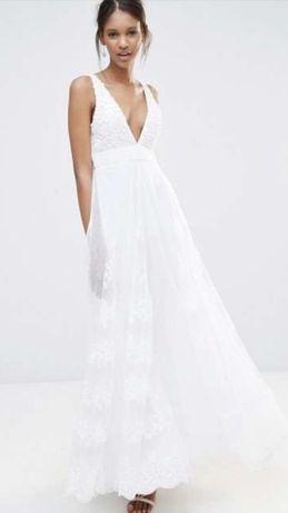 Sukienka długa Asos koronka ślubna roz M/L boho
