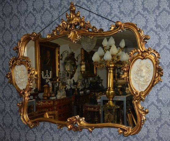 Espelho com pintura moldura de madeira dourada