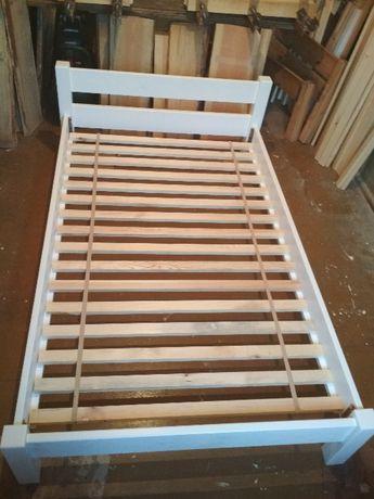 Nowe białe solidne drewniane łóżko na wymiar 90x200