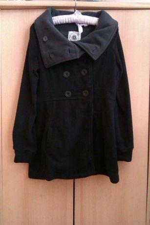 Czarny płaszcz płaszczyk polarowy bluza Fresh Made 36 38 S M nowy