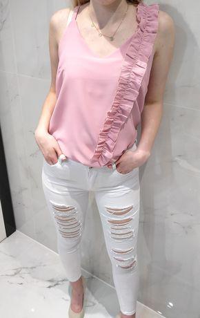 Spodnie białe jeansowe jeansy dżinsowe dżins postrzępione z dziurami