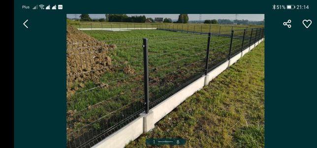 Kompletne ogrodzenie panelowe słupki panel podmurówka betonowe
