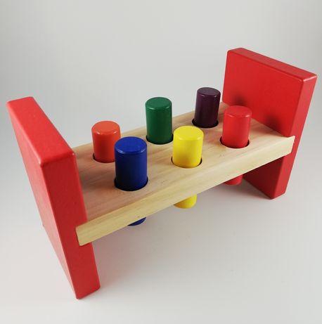 Wybijak Zbijak klocki drewniane z młoteczkiem gra edukacyjna tłuczek