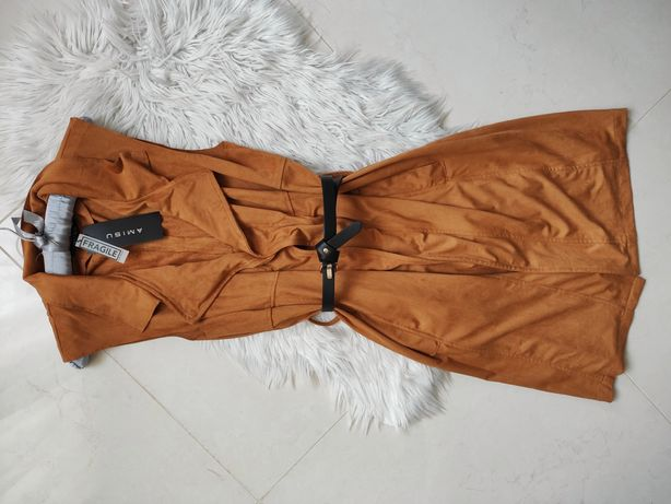 Zamszowa karmelowa kamizelka long maxi