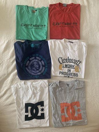 Pack de 6 t-shirts originais, tamanho L, carhartt, element e DC.