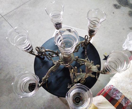Candeeiro antigo com 7 cones de vidro
