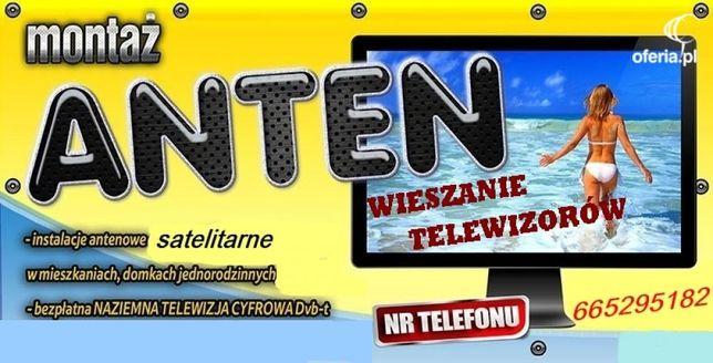 Montaż anten sat dvb-t ustawianie, wieszanie telewizorów Chełmża tanio