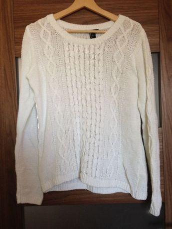 Biały sweter warkocz pleciony ciepły zimowy h&m