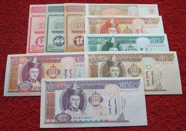 MONGOLIA Kolekcjonerskie Banknoty Zestaw - 9 sztuk UNC