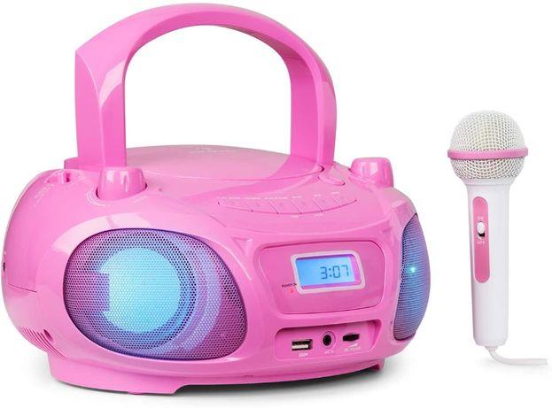 Boombox Auna Roadie Sing mikrofon różowy