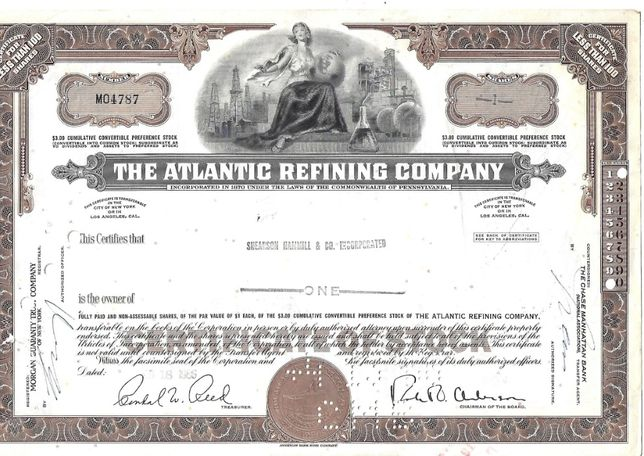 Bonds Shares Ações The New Atlantic Refining Company 1966 USA