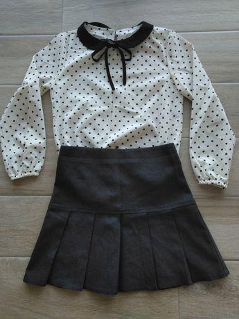 Elegancka bluzka i spódniczka 128 cm