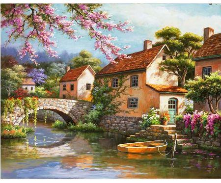 """"""" mostek rzeczka łódka """" obraz do malowania po numerach"""