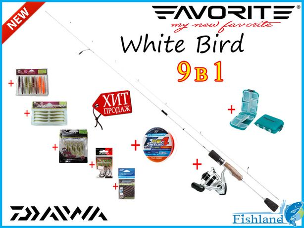 Набор для ловли окуня 9в1 Спиннинг Favorite WhiteBird+Daiwa Sweepfire