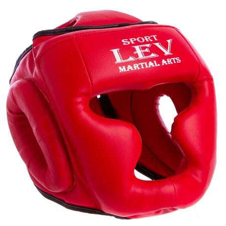 Шлем боксерский с полной защитой LEV SPORT натуральная кожа, кожзам