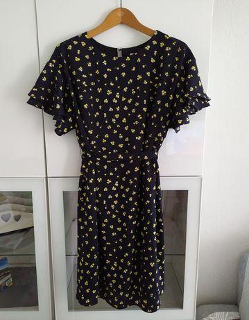 Sukienka ciążowa L H&M mama w kwiaty czarna z paskiem 40 ubrania