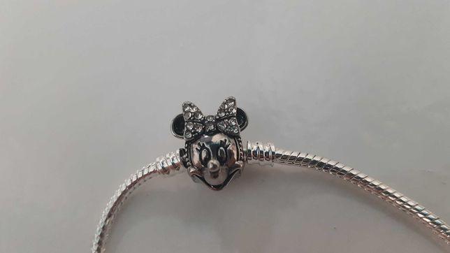 Piekna bransoletka bdb jakość srebrna Minnie Mouse 19cm Pandora nowa