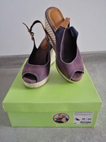 Sandały damskie koturn Deichmann 37