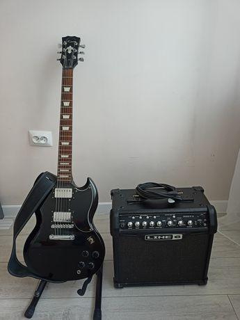 Gitara elektryczna  Raven ISG200 BK + wzmacniacz + Gratisy