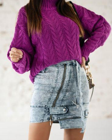 O la voga spodnica jeansowa zippers blue S M