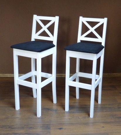 krzesło biały hoker barowy X białe krzesła hokery wysokie drewniane