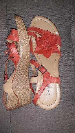 Sandaly, koturny skórzane Lasocki 39 Jak nowe
