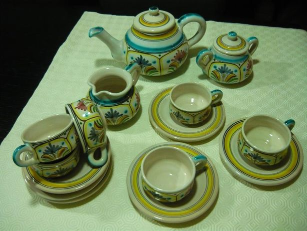 Serviço de Chá - Barro vidrado pintado - Louça artesanal