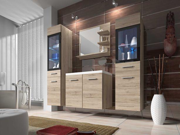 Meble łazienkowe Udine : szafka pod umywalkę , słupek , lustro