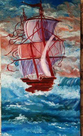 """Картина маслом, морской пейзаж """"Небесная волна"""""""