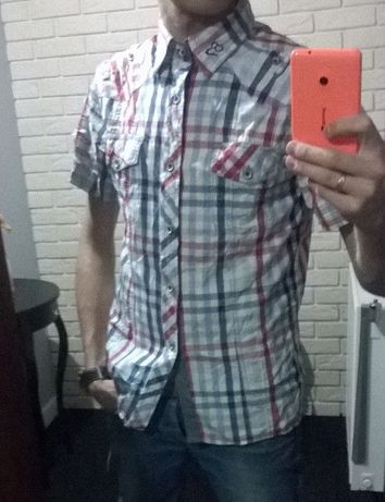 Koszula męska krótki rękaw M slim fit krata