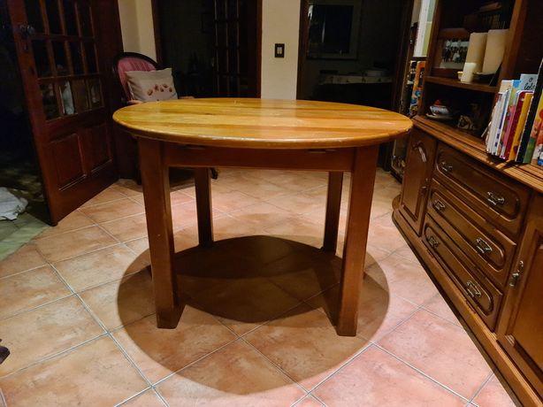Mesa rendoda madeira extensivel