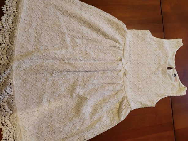Sukienka biała/ecrue 122/128 H&M + bolerko