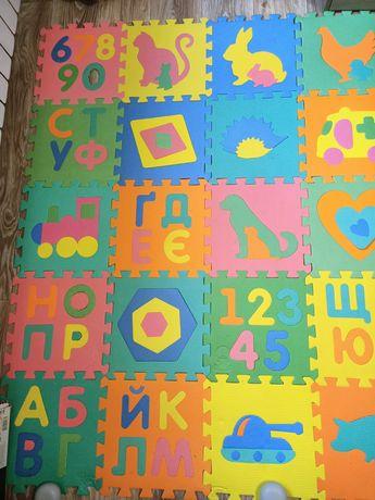 Коврик - пазл цифры+ буквы+ транспорт+ животные+фигуры