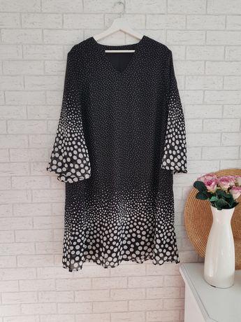 Czarna biała sukienka w groszki roz 48 4XL Asos nowa