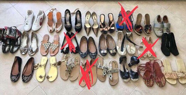 Lote de sapatos sandálias botas de senhora várias marcas 38