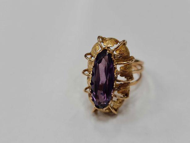 Wiekowy złoty pierścionek damski/ 585/ 8.36 gram/ R16/ Aleksandryt
