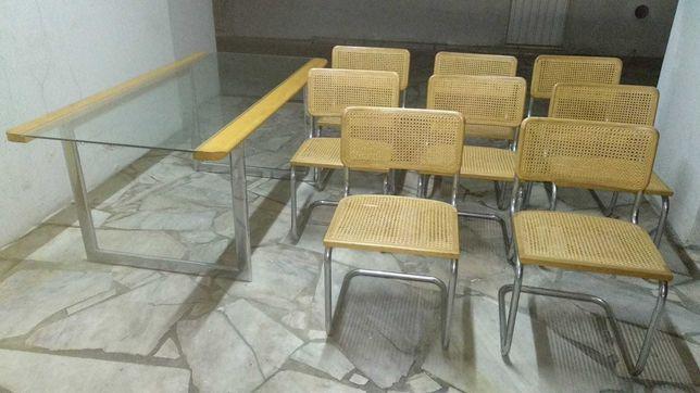 Mesa jantar vintage e 8 cadeiras B32 vintage Cesca Breur 1929
