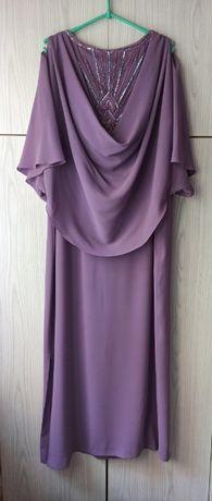 Pastelowa lawendowa liliowa sukienka wieczorowa wesele vintage cekiny