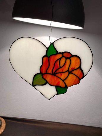 Serce z Różą zawieszka tiffany . Oryginalny prezent