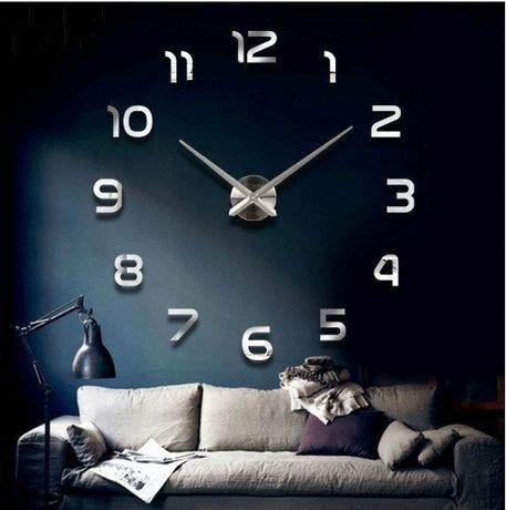 Часы настенные 3D 70 см Арабские серебристые зеркальные клеящиеся стик