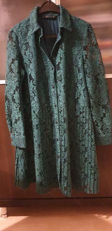 ZARA sukienka koronka zieleń L