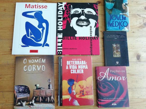 Livros variados de BD, pintura e literatura