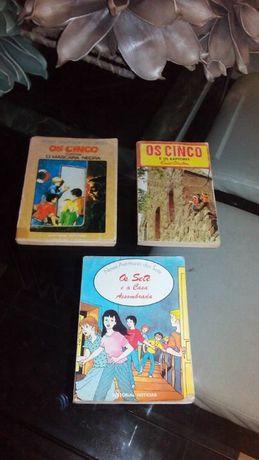 3 livros antigos de Enid Blyton: 2 livros OS CINCO e 1 livro OS SETE