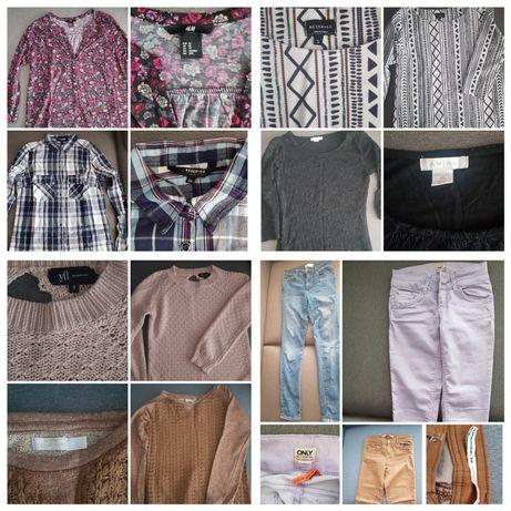 Sprzedam zestaw paka ubrania S XS spodnie sukienka sweter bluzka